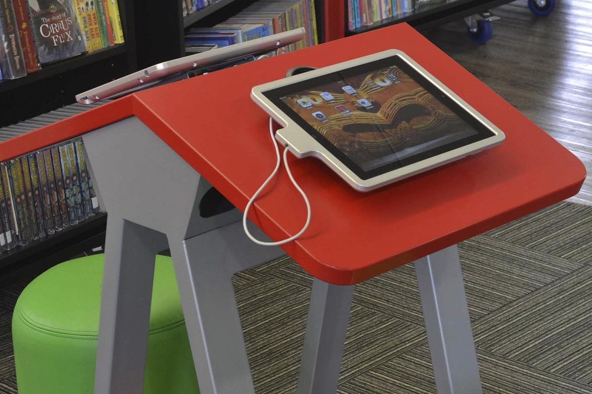 Library childrens area ipad stand