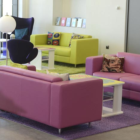 Furnishings in modern library interior design