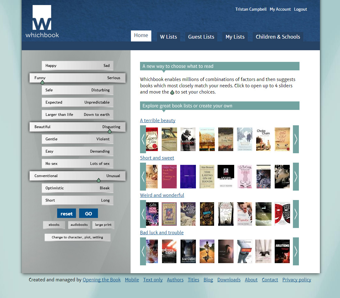 Whichbook.net, offering a new reader-centred way to choose, is launched to great acclaim and numbers of visitors
