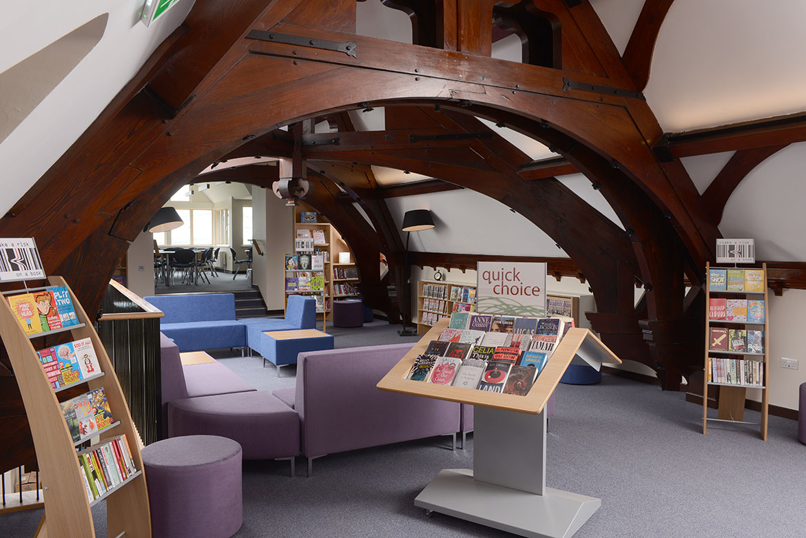 Informal seating and tempting book display provide a relaxed atmosphere