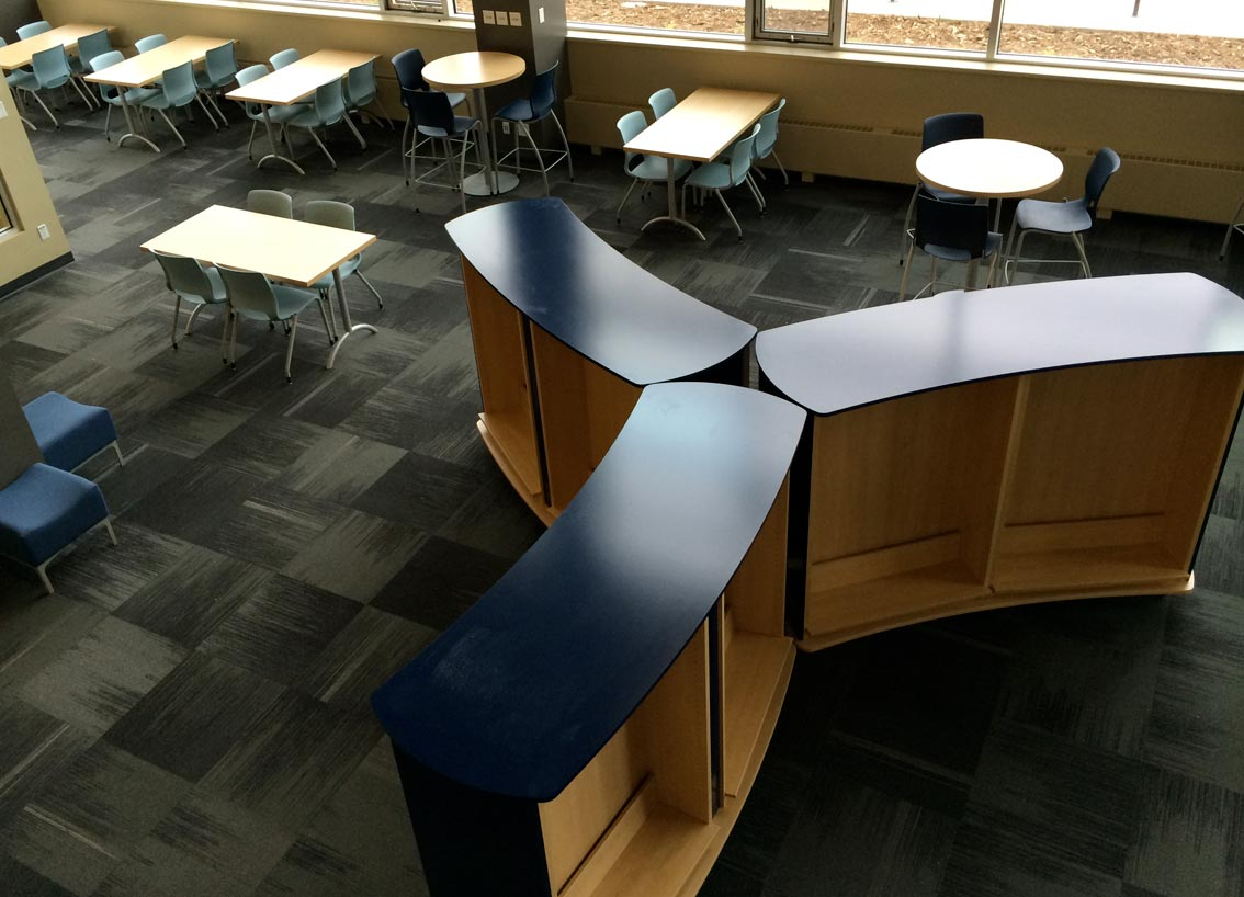 Library shelving installation