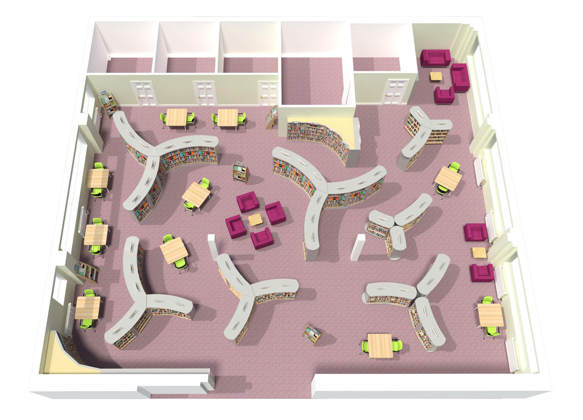 3d plan view of library layout