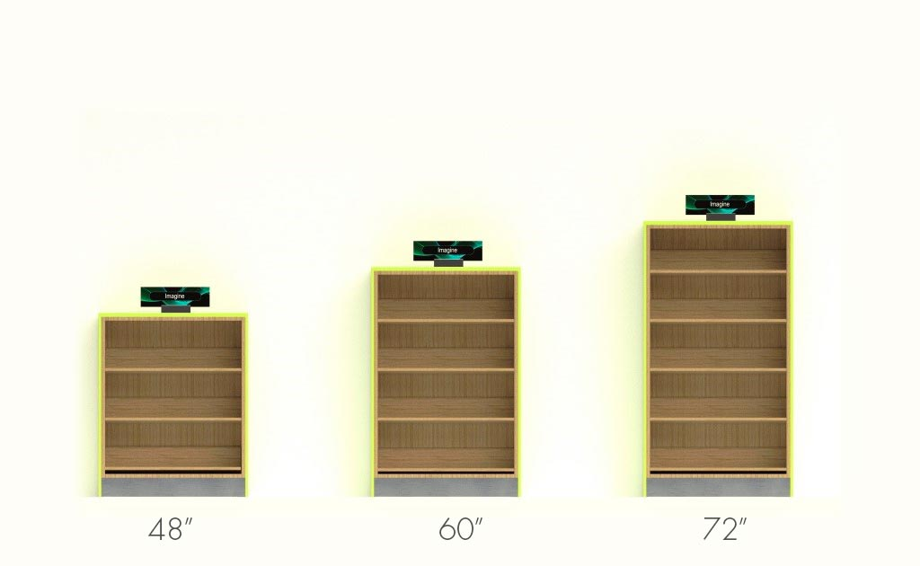 Performance shelving comes in three heights: 48, 60 and 72 inches