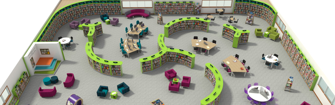 Example of public library shelving creating a dynamic library design
