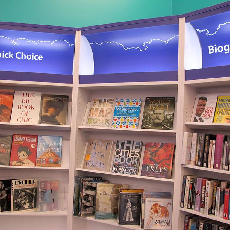 Coffee table books display, South Woodford Library