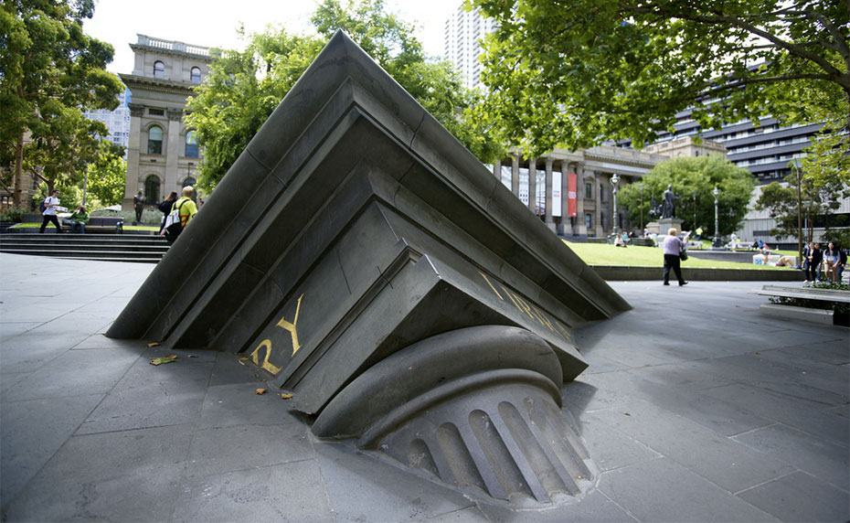 Large sculpture at library entrance