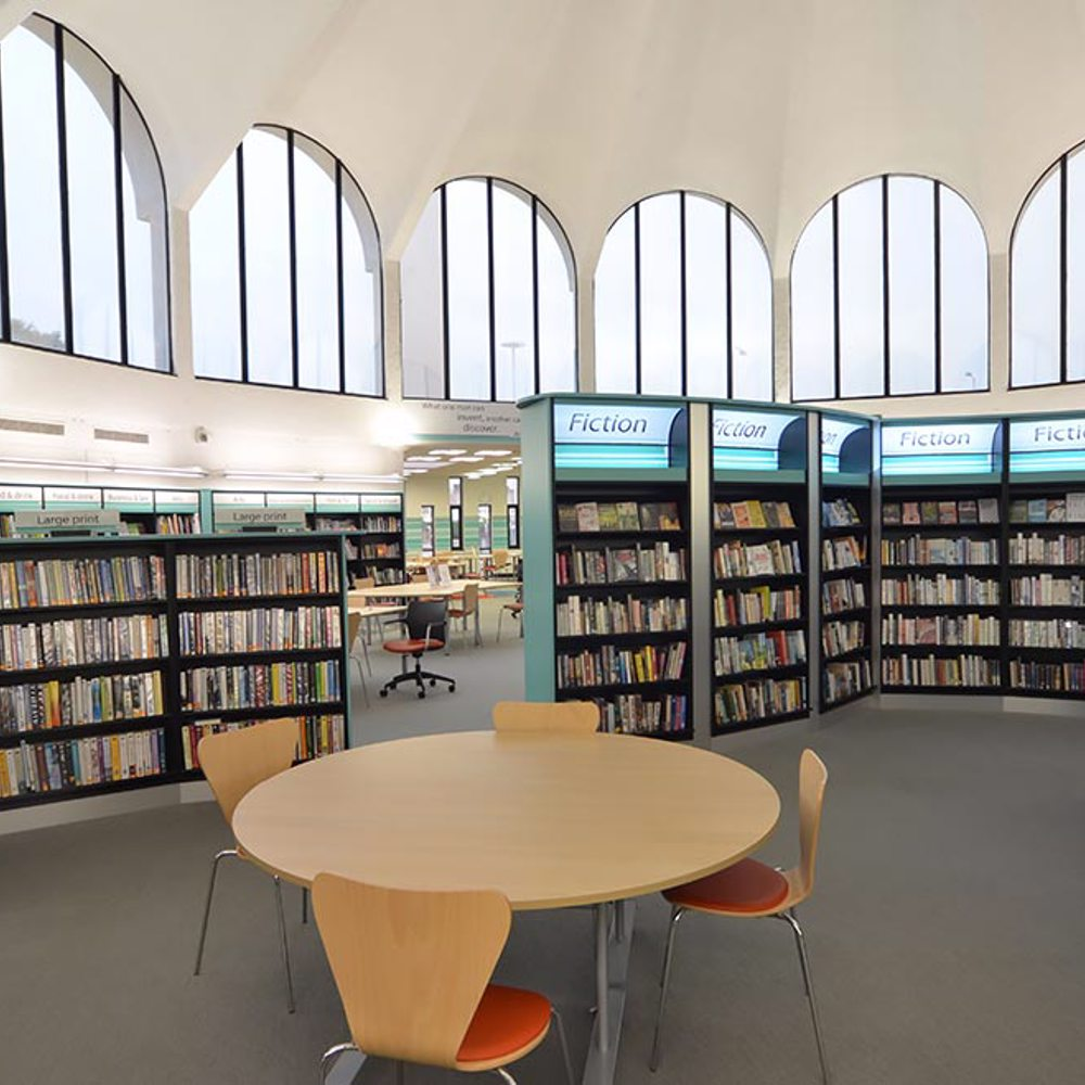 Tempting glimpses through the space pull customers forward to explore, Fullwell Cross Library