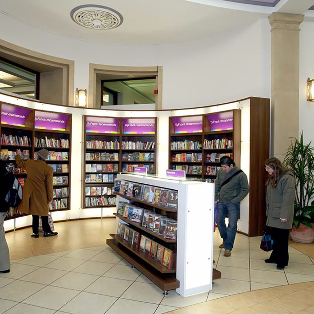 Illuminated bookcases, UpFront area, Bolton Central Library
