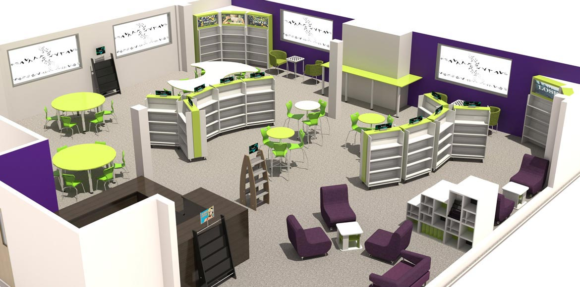 Secondary school library 3d visualisation