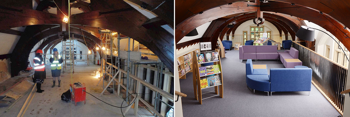 View towards mezzanine (before and after)