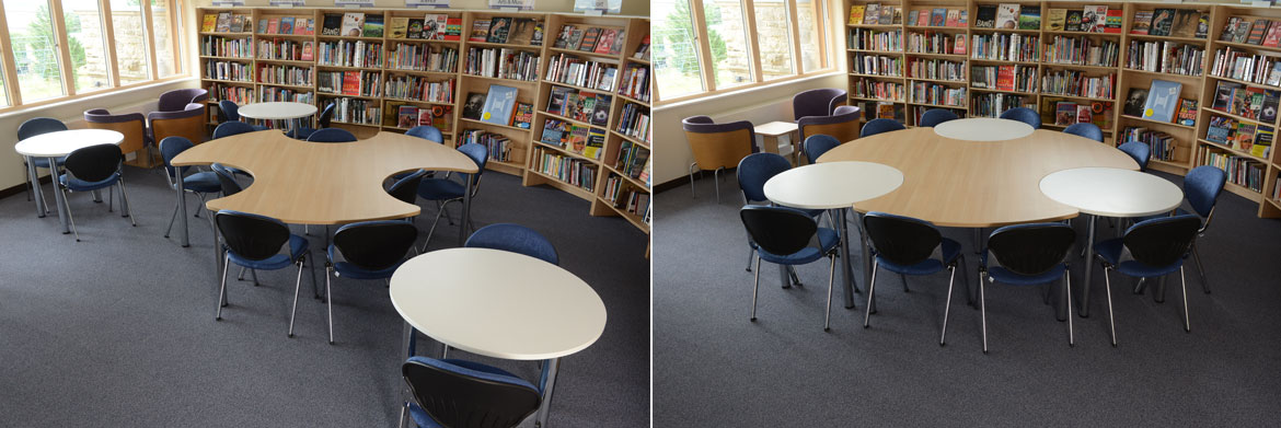 Above: Our unique Byte and Orbit tables combine to provide ideal group study space.