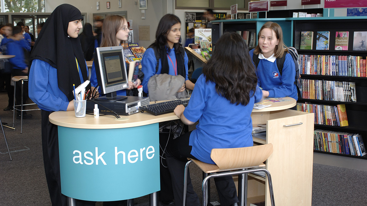 School library 'ask here' service desk
