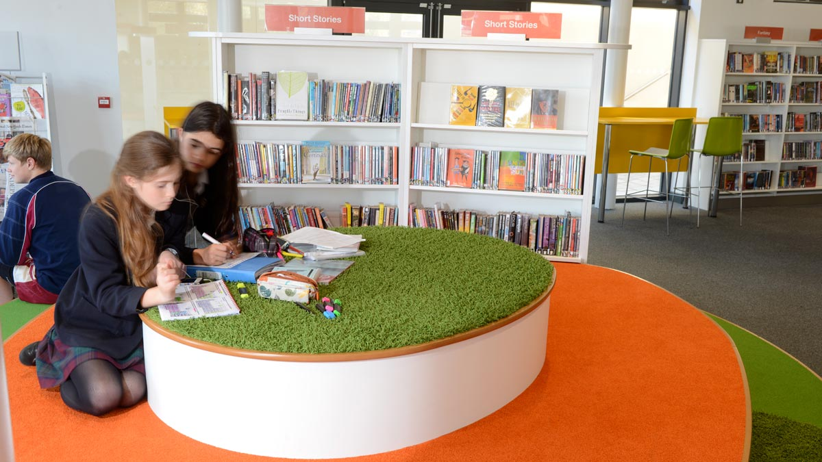 School library feature study and seating area