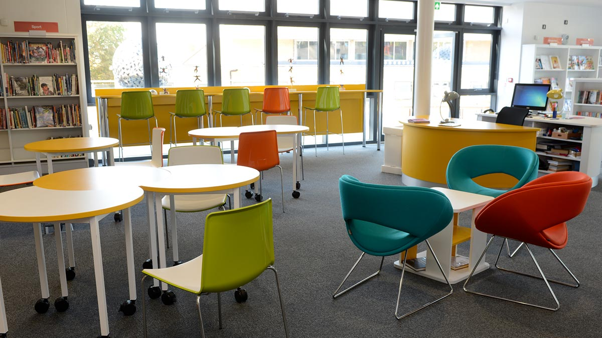 Fun childrens library seating area