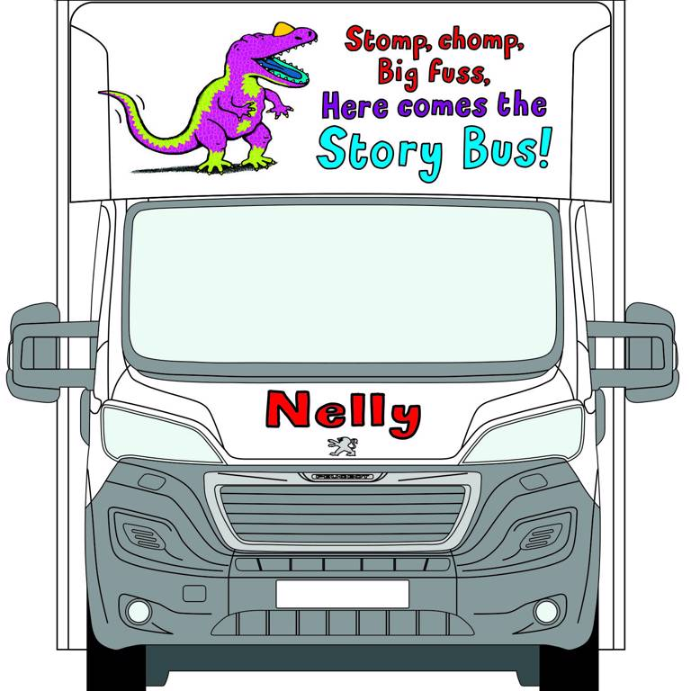 Front view of Nelly the Story Bus