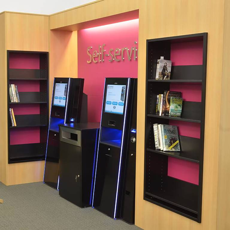 Returned and trapped books by self-service units, Llandudno Library