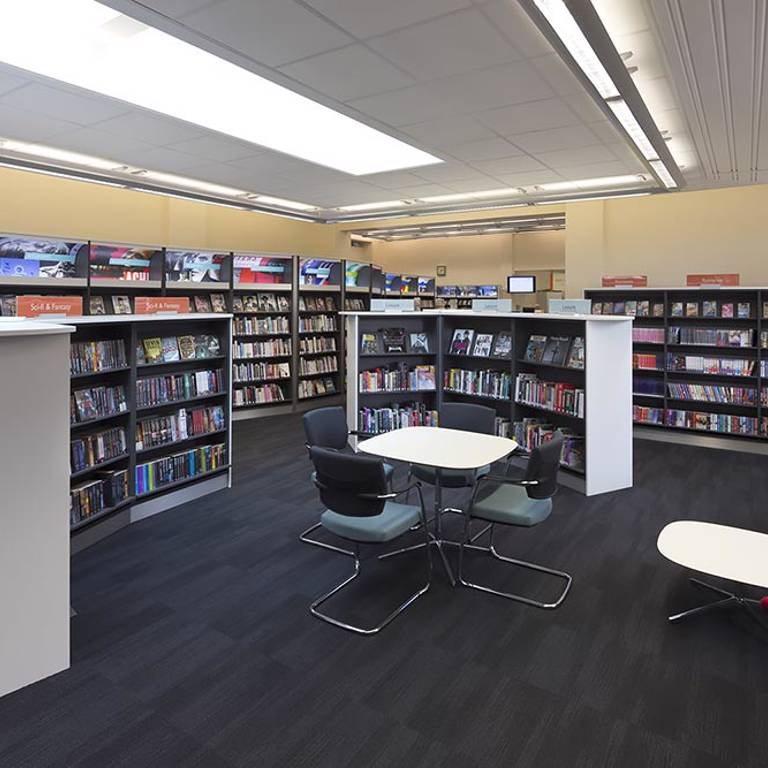 Books in easy reach of seating, West Bridgford Library