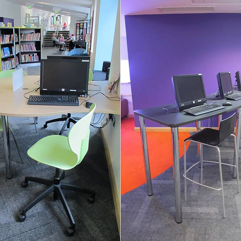 IT desks at Wellington Library