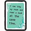 Childrens Library Graphic: I can tidy my room and read at the same time