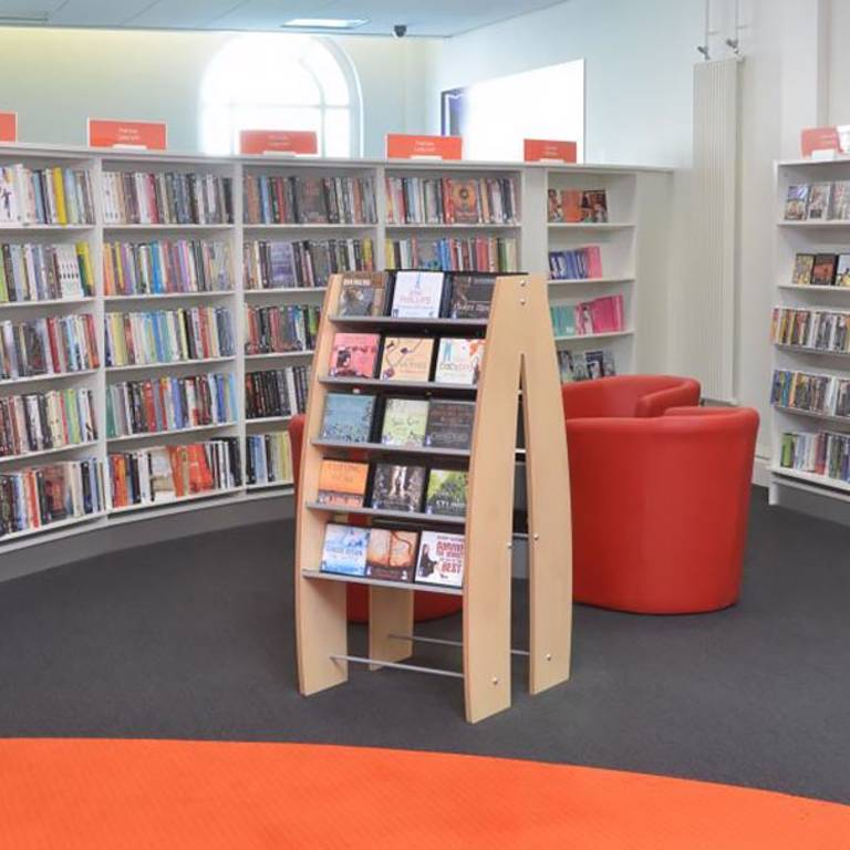 Large print and audiobooks area with seating, Llandudno Library