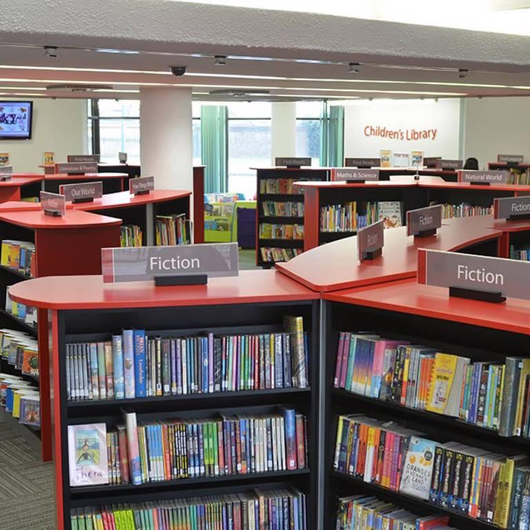 Clear guiding, children's area, Redbridge Library