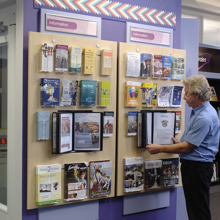 Leaflets and posters neatly managed in one spot, Thame Library