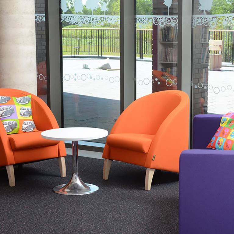 Bespoke Pop-art-inspired theme, Southwater Library (Telford)Pop-art cushions add fun, Southwater Library (Telford)
