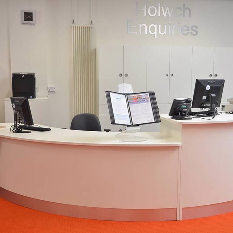 Large dual-height counter, Llandudno Library