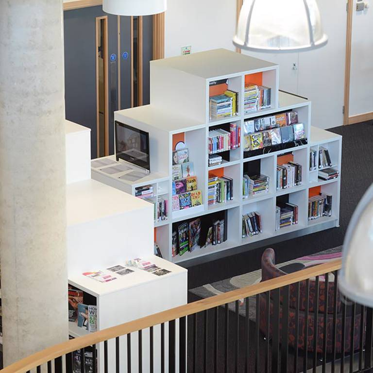 Cube shelving in teens' area, Southwater Library (Telford)