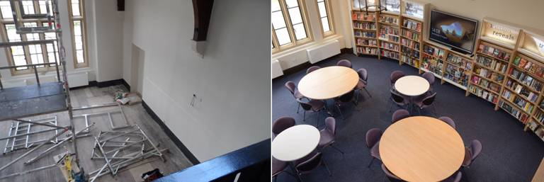 View to the ground floor study/events space (before and after)
