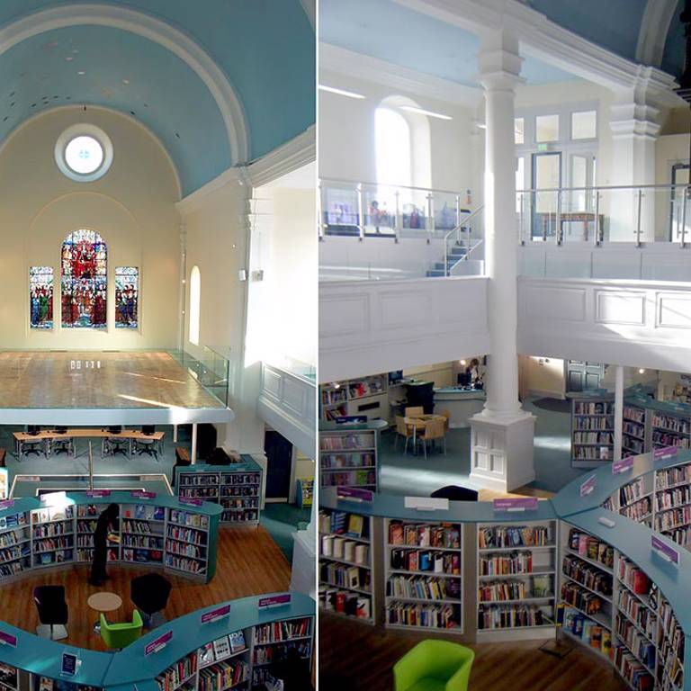 Seating areas in dramatic interior, St Aubyns Library Church