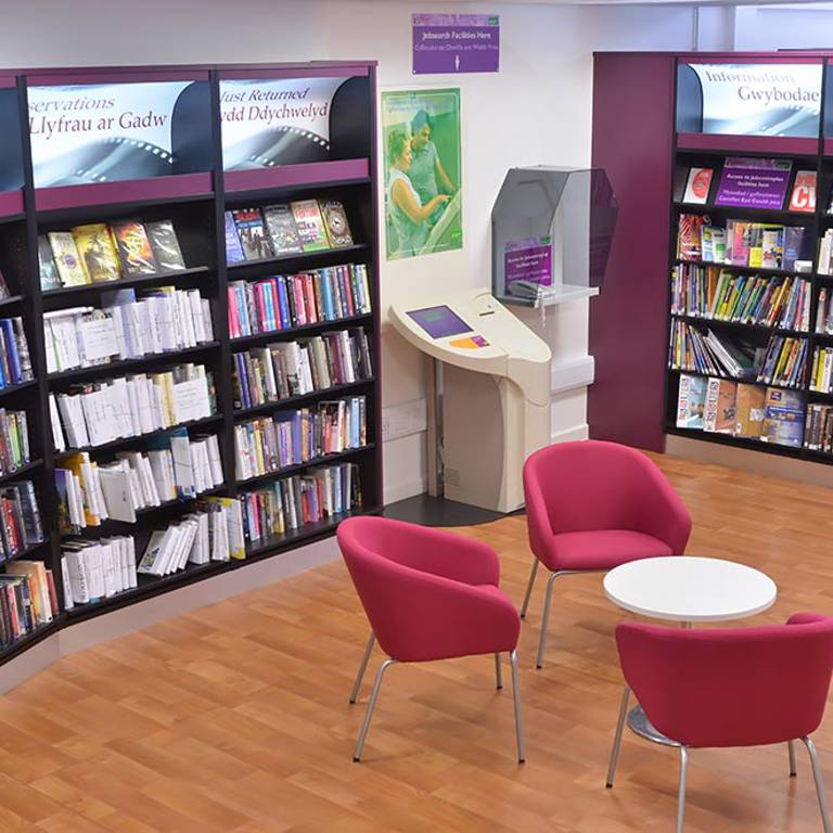 Council customer services point, Risca Palace Library