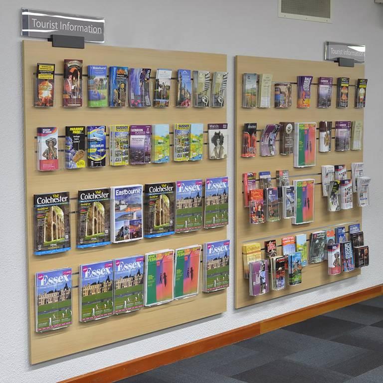 Well-managed tourist information on slatwall boards, Redbridge Library