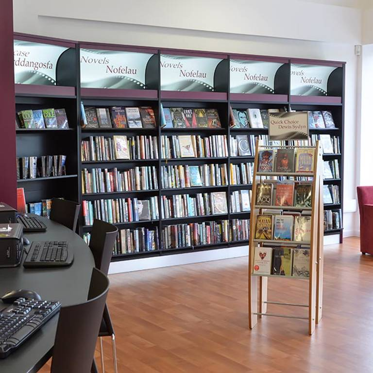 Bar height IT desks at Risca Palace Library
