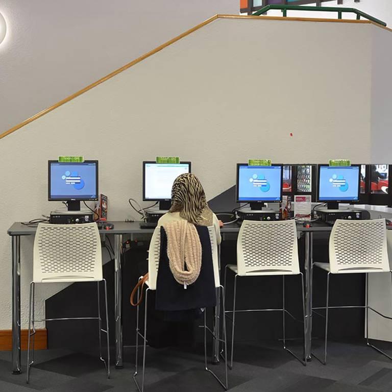 Bar height PC desks