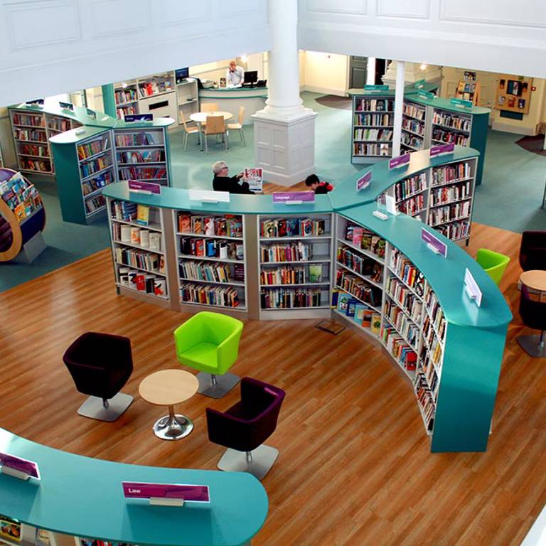 Bookcases create quiet seating areas, St Aubyn's Library Church