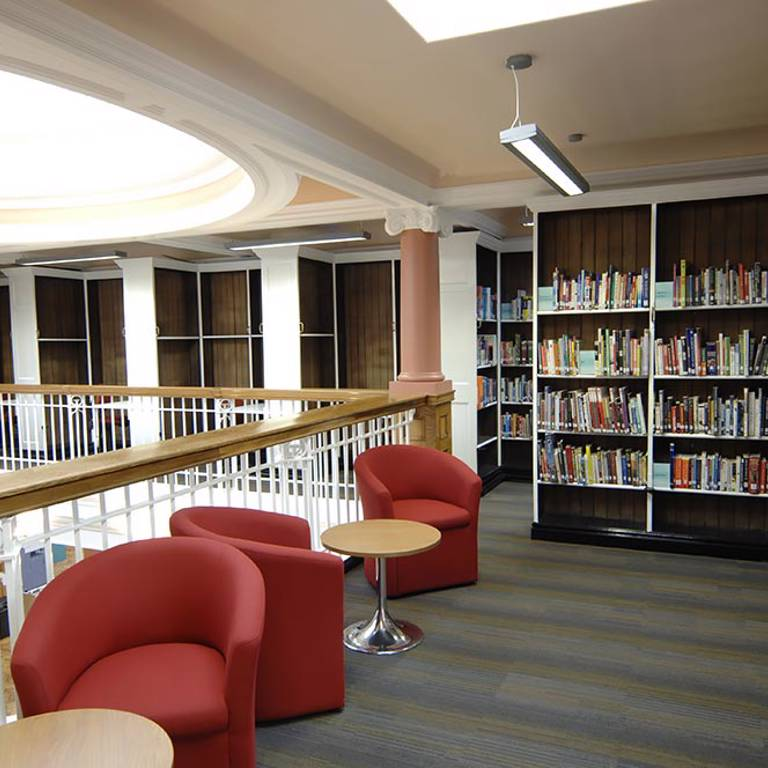 Seating area in Grade II listed library, Toxteth Library