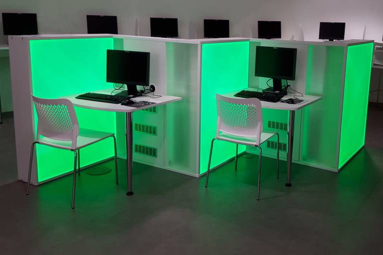 Green lighting at computer desks