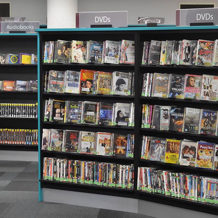 On-shelf Perspex zig-zags support DVDs and audiobooks, Redbridge Library