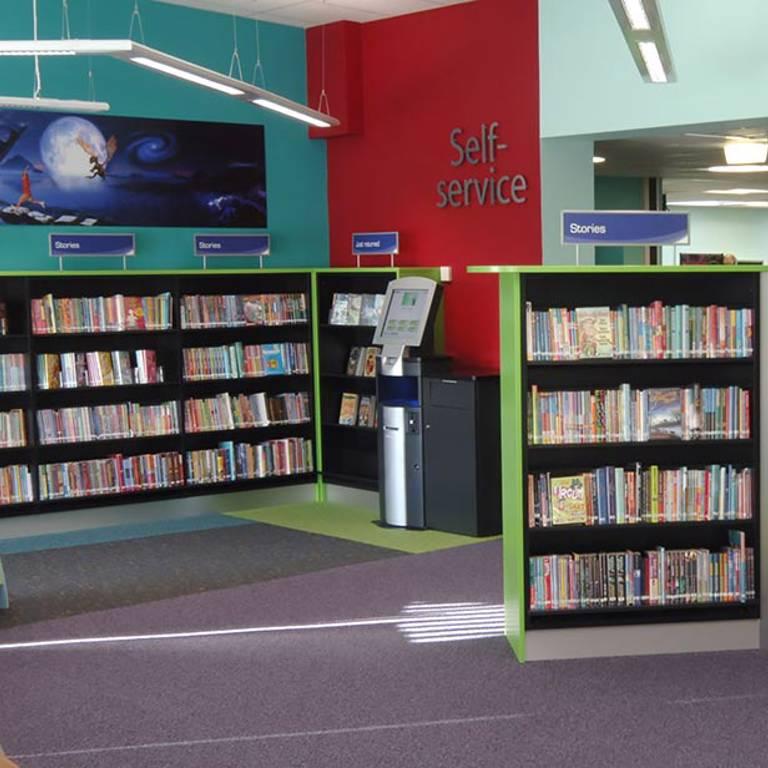Self-service in children's area, Yate Library