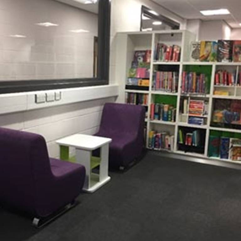 Informal seating and cube shelving