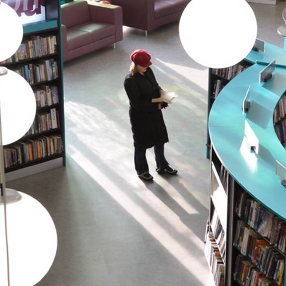 Looking down on Redbridge Library