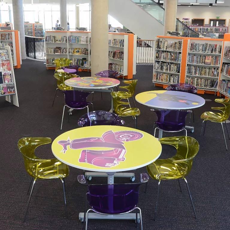Bespoke print laminate on study tables