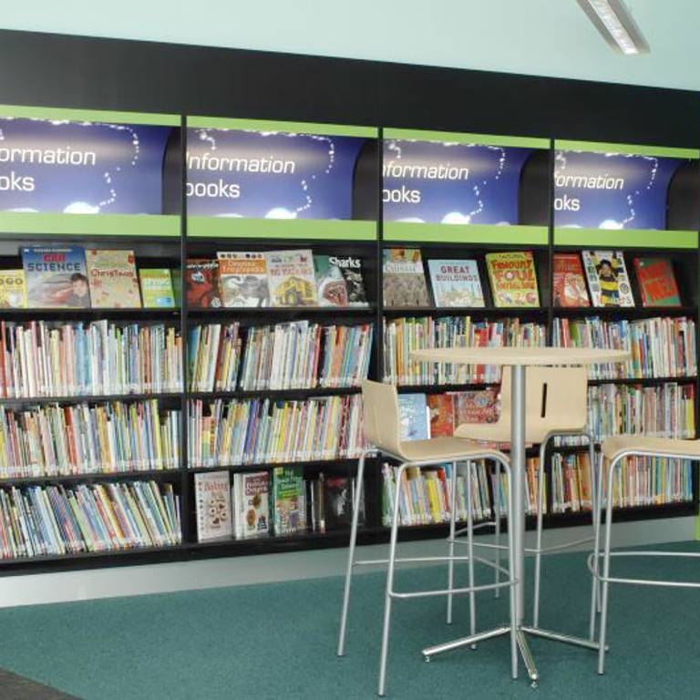Bar height table and stools, children's area, Yate Library