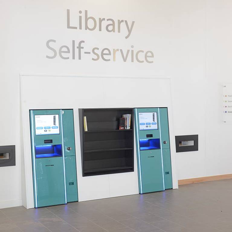 Highly visible and elegant self-service units, Southwater Library (Telford)