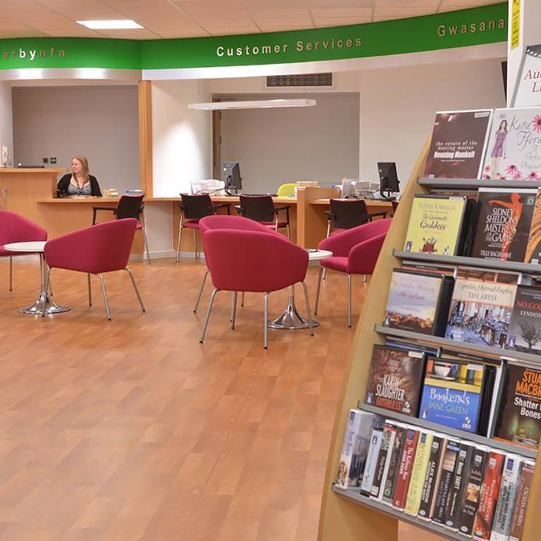 Book display located in council customer services area, Risca Palace Library