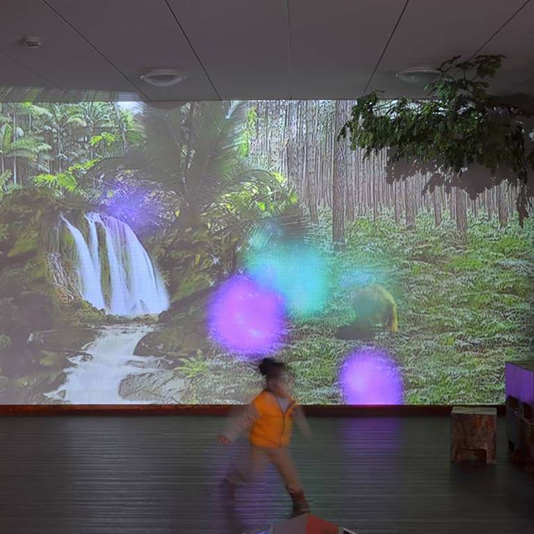 Interactive wall projection, children's area, Redbridge Library