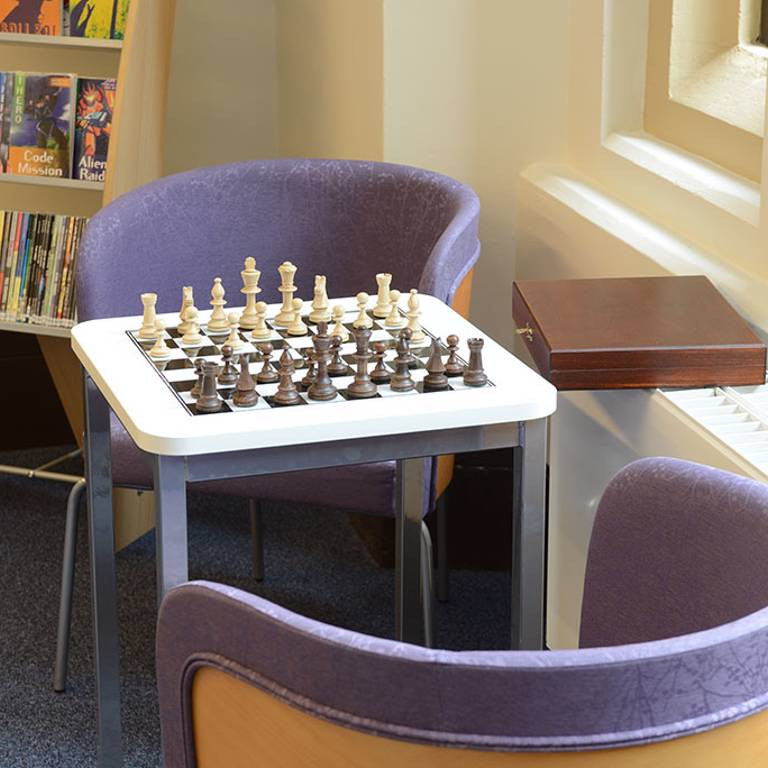 Chess table and seating