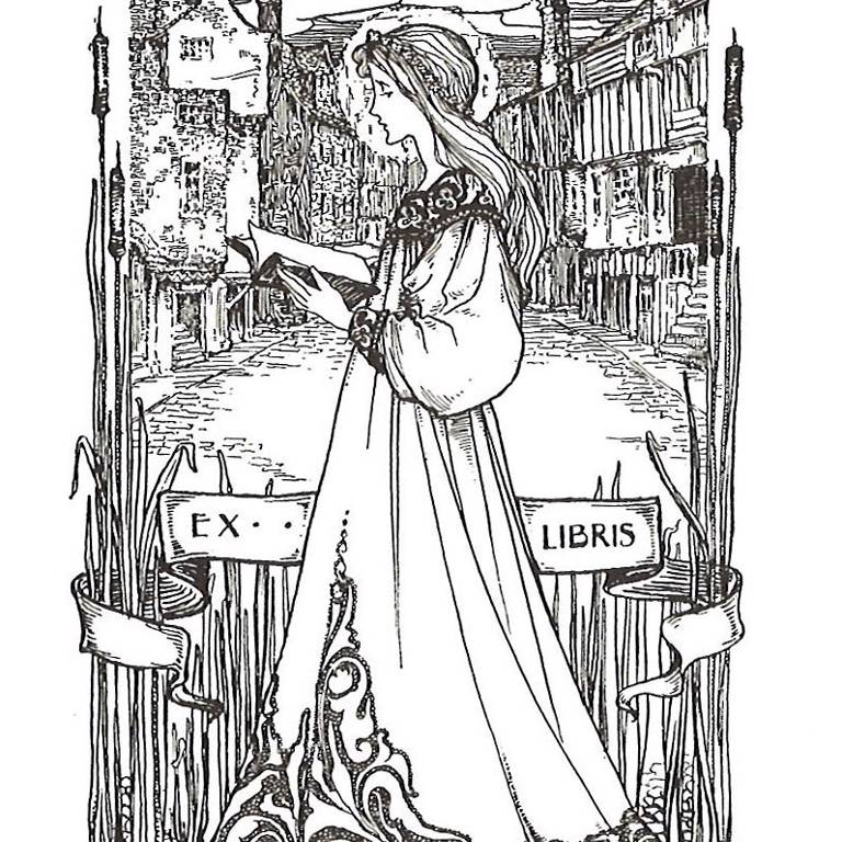 Ex libris stamp with owner's name