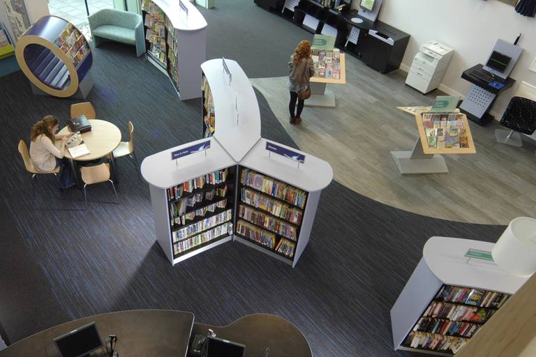 Looking down on Thame Library interior